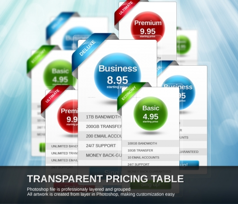 Template Image for Transparent Pricing Table - 30007