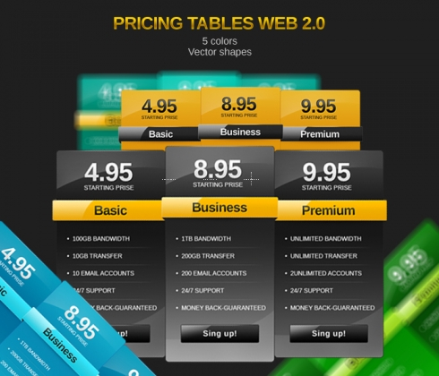 Template Image for Gold Pricing Tables - 30029