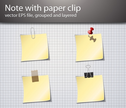 Template Image for Paper Clip & Notepad Vector - 30169