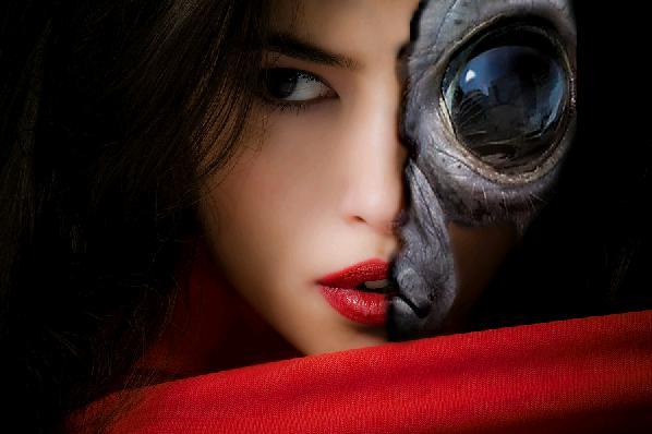 Revealing an alien under a beautiful woman's face in Photoshop