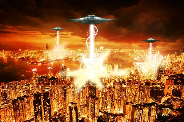 Alien Invasion on Hong Kong created in Photoshop