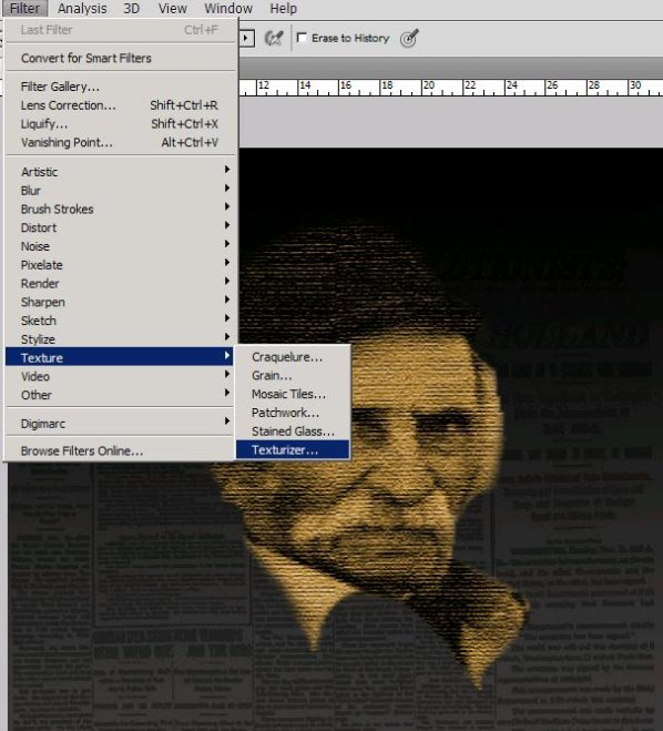 How to create newspaper effect on an old man's face in